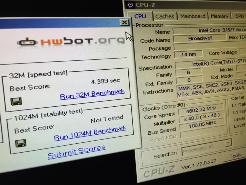 Inteli7 5775C WPrime wynik po OC