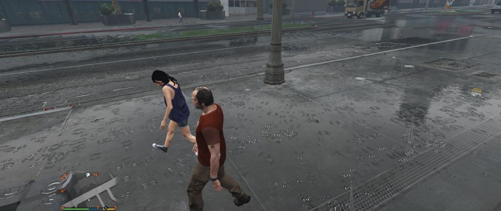 Podczas opadów deszczu widać nie tylko krople, ale również przemoczone postacie