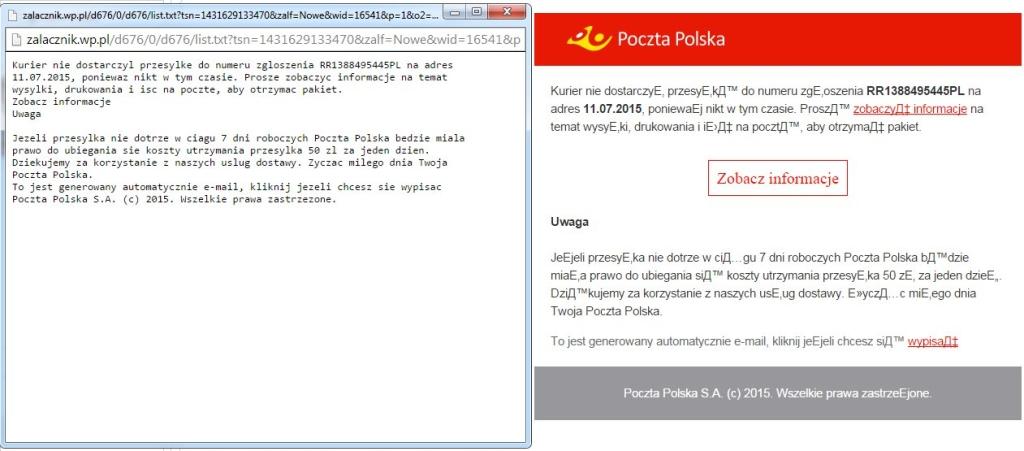 poczta polska fałszywy mail