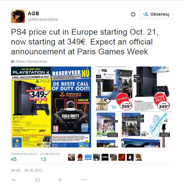 Twitter Obniżka Cen PS4