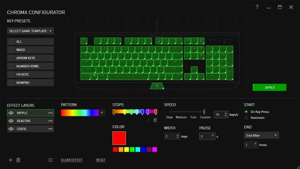 Razer Synapse konfigurator podświetlenia