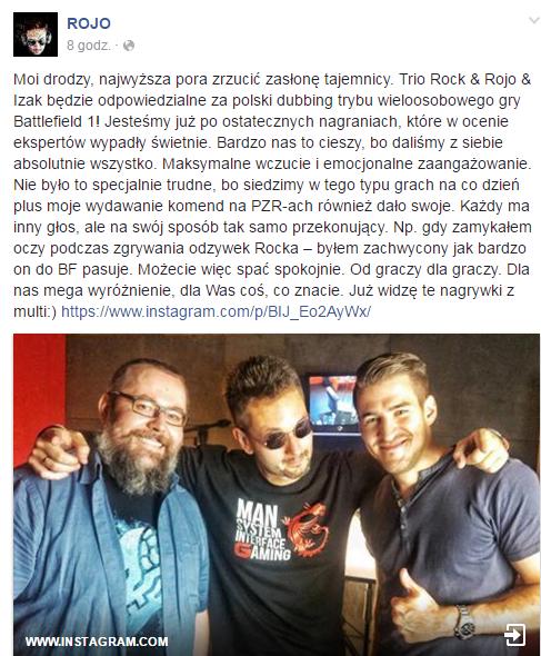 Wpis na FanPage Roja. Od lewej: Rock, Rojo, Izak.